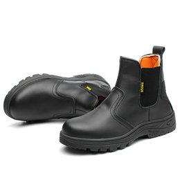 9292943773b large size 45 46 men fashion black steel toe cap work safety shoes genuine leather  security ankle boots building site worker
