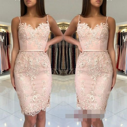 Wholesale 2018 Cheap Blush Pink Homecoming Dresses Lace Appliques Short Mini Spaghetti Straps Sashes Sheath Sweetheart Party Graduation Cocktail Gowns