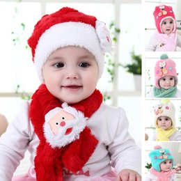 c46aa9c54 Christmas Hat Cap Sets Kids Baby Beanies Cap+Scarf With Earmuffs Kit  Children Warm Santa Clause Velvet Cap Xmas Gifts 4Styles HH7-1814