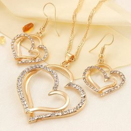 Copper Earrings Indian Australia - Luxury Wedding Necklace and Earring Set Fashion Gold Silver Crystal Charm Heart Jewelry K2330
