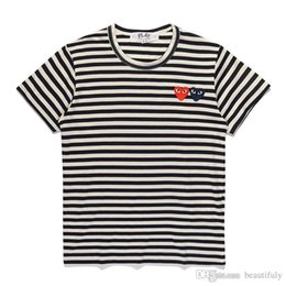 Discount strip off women - Unisex COMMES T shirt With Cotton Short Sleeve Des OFF Holiday Embroidery Heart Emoji GARCONS White Strips CDG Clothing
