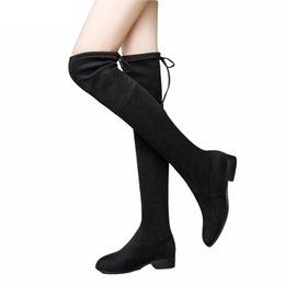 Discount burgundy square toe boots - Ladies Shoes Square Low Heel Women Over The Knee Boots Scrub Black Pointed Toe Woman Motorcycle Boots