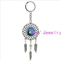 $enCountryForm.capitalKeyWord NZ - 209-Silver Bezel key chain Glass Round Van Gogh Starry Night Abstract Art Wedding Keyring keychain dream catcher Bohemia mandala