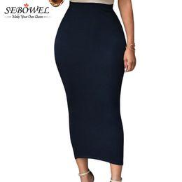 d1fb08987fe4a 8 Fotos Black woman tight skirt online-Sebowel 2018 Sexy Women Summer Falda  larga Bodycon Negro de