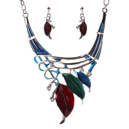 $enCountryForm.capitalKeyWord UK - Leaf Style Alloy Enamel Necklace Earrings Set - 5 Colors Leaves Womens Statement Necklaces Jewelry Sets Boho Holiday