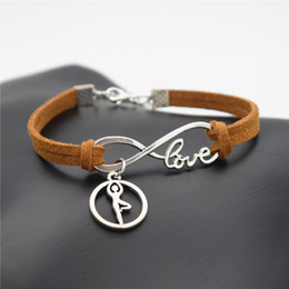Best Christmas Gifts For Men Australia - Good Christmas Gift Fashion Jewelry Brown Leather Rope Infinity Love Ballet Gymnastics Yoga Bangles for Women Men Best Friendship Bracelets