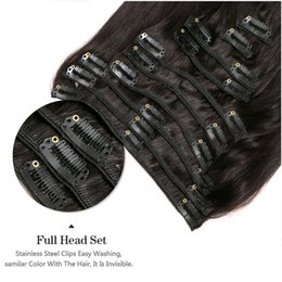 Wholesale Peruvian Remy Hair Clip in Human Hair Extensions Set Natural virgin thick clip in hair extension