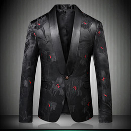 designer slim fit casual suit Australia - Men Stylish Floral Blazers Designer Brand Slim Fit 2018 Autumn Winter New Smart Casual One Button Mens Black Suit Jacket 9008