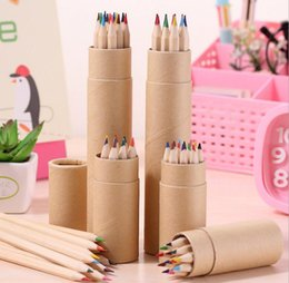 colour pencils set NZ - colored Lead Color drawing pencil wood Colour Pencils Sets of 12 colour kids colored drawing pencils children gift