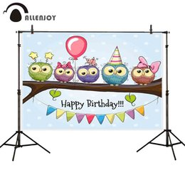Balloons Backdrop online shopping - photographic background cute Five Owls on a brunch balloon bonnets flags bow polka dots birthday fotografica backdrop