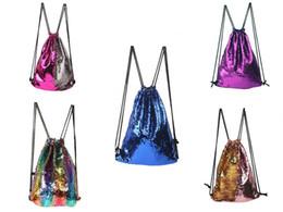 $enCountryForm.capitalKeyWord Canada - Mermaid Sequin Backpack Sequins Drawstring Bag Double-sided Sequins Outdoor Backpack Flash Sport Shoulder Bag Travel Shoes Bag Free Shipping