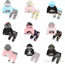 Floral Print Shirts Baby Australia - INS Christmas Baby Clothes Sets Boys Girls Fashion Floral Flower Printed Hooded Long Sleeve T-Shirt Pants Infant 2PCS Kids Clothing Sets B11