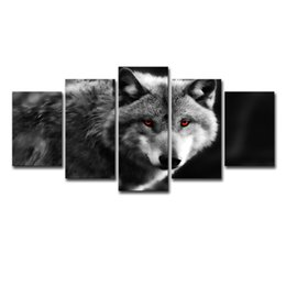 Framing Canvas Prints Australia - Modern Wall Art Canvas Pictures Frame Bedroom Home Decor HD Printed Painting 5 Pieces Animal Photo Red Eyes Wolf Posters