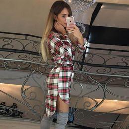 Discount plus size sleeveless blouses collar - High Quality Tshirt Dresses Retro Plaid Long Sleeves Women Lattices Blouse Casual Female Vestido De Feata Robe LJ5932y