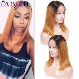 bobs parts 2019 - T1b 30 Ombre Short Bob Lace Front Wigs Straight 360 Full Lace Human Hair Wigs Bob Middle Part Side Part Remy Hair Wigs c