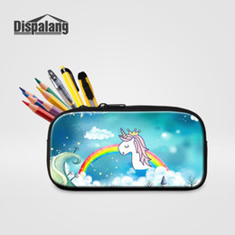 rainbow pencils 2019 - wholesale Cartoon Rainbow Unicorn Printing Pencil Cases Pen Box Bag For School Women High Quality Cosmetic Case Lady Mak
