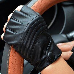 Leather Half Gloves Australia - LongKeeper Fashion Half Finger Driving Women Gloves PU Leather Fingerless Gloves For Women Black Mittens