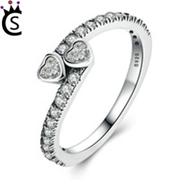China Luxury Wholesale Jewelry NZ - Authentic 925 sterling silver ring sweet love heart rings With zircon 925 sterling silver rings luxury jewelry fit pandora