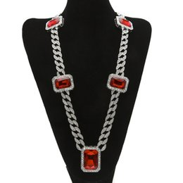 "Chinese  Men hip hop Rock Jewelry Gold Silve Plated 5pcs Square Red Crystal 30"" Full Rhinestone Miami Cuban Link Necklace manufacturers"