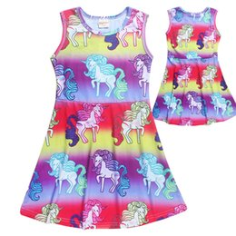 China Cute Unicorn Girl clothing dress Ins Middle big kids unicorn dresses 2018 Summer Cheap price Wholesale for 4T 5T 6T 7T 8T suppliers