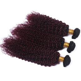 Discount black red ombre hair weave - Black and Wine Red Ombre Virgin Indian Human Hair Extension Kinky Curly #1B 99J Burgundy Ombre Virgin Human Hair Weave B