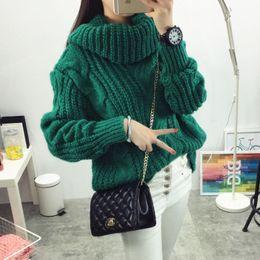 1b765fb6e25 Vintage Turtleneck Sweater Winter Oversize Twist Hemp Flowers High Neck  Loose Pullovers Women Thicken Knitted Warm Sweater Y18102001