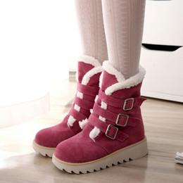 $enCountryForm.capitalKeyWord NZ - YOUYEDIAN Women Boots 2018 Buckle Strap Snow Boots Middle Warm Solid Women Winter Casual Shoes Flat Bota Feminina