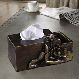 Antique Tissue Box Australia - 3 Styles Home supplies tissue box Antique art living room office lotus rectangular box