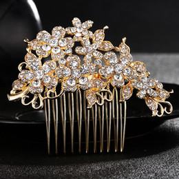 $enCountryForm.capitalKeyWord NZ - Classic Gold Color Flowers Hair Combs Austrian Crystal Wedding Hair Accessories Bridesmaids Hair Jewelry Headpieces JCH128
