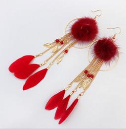 $enCountryForm.capitalKeyWord UK - Trending Style Tassel Earring High Quality 4 Colors Bohemia Hairy Ball Feather Leaves Pendant Earrings Ear Jewelry For Women