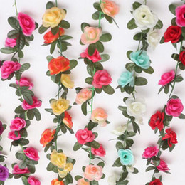 Wholesale 2 m rose garland artificial flowers vine with green leaves hanging artificial flowers ivy for wedding party home decoration
