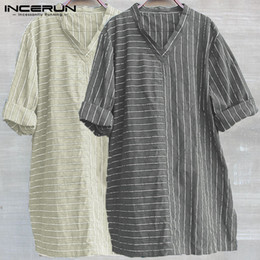 V Neck Style T Shirts Canada - INCERUN Mens T Shirt Stripe Cotton V-neck 3 4 Sleeve Chinese Style Vintage T-shirt Men Tops Baggy Casual Camisetas Plus Size