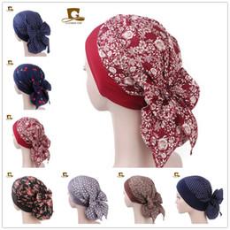$enCountryForm.capitalKeyWord Australia - Womens Elastic Inner Hijabs Hat Pastoral Style Lady Hair Bands Cotton big bow Instant Hijabs Doo Durag Hoofddoek Turbante