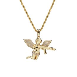 $enCountryForm.capitalKeyWord UK - Hip Hop Zircon Gold Silver Cute Angel baby Carry Gun Pendant Necklace Stainless Rope Chain for Men Women