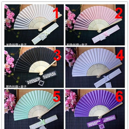 Silk invitationS online shopping - European Style Originality Fan Gift High Grade Silk Folding Fans With Printing Wedding Favors For Guest sz ff