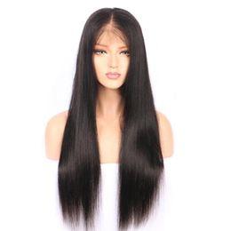 Vente en gros 9A Vison Brésilienne Vierge Cheveux Sans Colle Avant de Lacet Perruques de Cheveux Humains Pour Les Femmes Noires Pré Plumée Brésilienne Ramy Droite Perruque En Dentelle Avant
