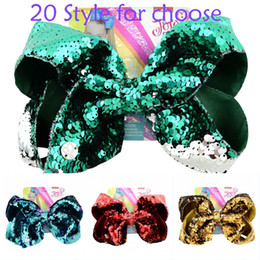 $enCountryForm.capitalKeyWord Australia - 8 Inch JOJO Baby Bow Hairpin Double Reversible Sequin Children Hair Clips Beauty Fish Scale Hair Accessories Support FBA Drop Shipping H942F