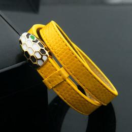 Mode schlangenkopf pu armband 316l titanium stahl vergoldet schlangenhaut doppelte gürtel armband für frauen und männer schmuck markenname heißer verkauf