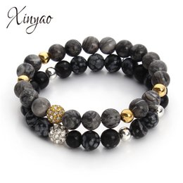$enCountryForm.capitalKeyWord Australia - XINYAO 8mm Picasso Created Natural Stone Beads Bracelets For Women Black Color Crystal Rhinestone Charm Bracelet Bangles Gifts