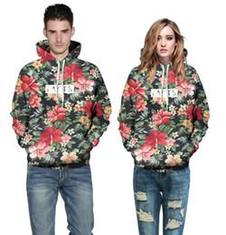 Wholesale leaf sweatshirt for sale – custom Unisex Autumn Winter Fashion Men Women Hoodies With Cap Print Red Flowers Green Leaves d Hooded Sweatshirts Hoody Tracksuit