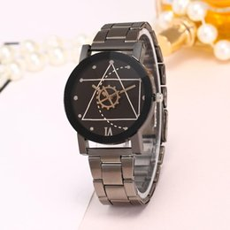 Micro Gears Australia - Micro-business drainage men and women couple watches Korean version of stainless steel gun black gear student watches