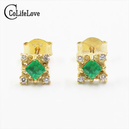 4c5b045c3 emerald stud earrings 2019 - Vintage emerald stud earrings 3*3mm natural emerald  silver earrings