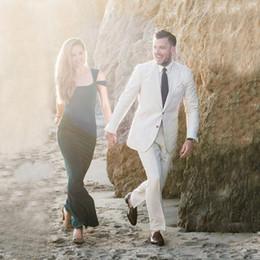 $enCountryForm.capitalKeyWord Canada - 2018 Men Suits Ivory Linen Beach Peaked Lapel Wedding Suits For Man Bridegroom Custom Made Slim Fit Formal Tuxedos Best Man Prom 2Pieces