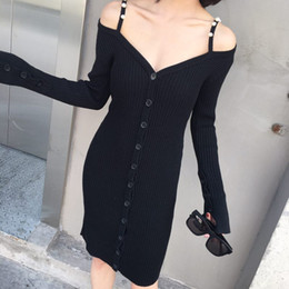 $enCountryForm.capitalKeyWord NZ - Brand Designer Women Knitted Dresses 2018 Spring Autumn Fashion Pearl Beaded Strap Single Breasted Fare Sleeve Buttons Long Sweater