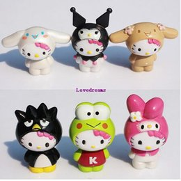 6 pz / set Ciao Kitty kuromi PVC Action Figures Cartoon Uccello Rana Miniature Figurine senza telefono Portachiavi Bambole Giocattoli per bambini per bambini