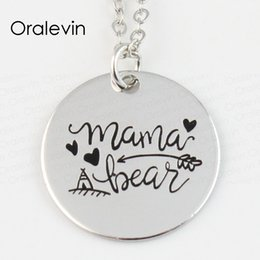 initial disc pendant necklace Australia - Wholesale MAMA BEAR Engraved Disc Pendant Charms Necklace Mother Day Gift Jewelry 18 inch, 22 MM ,10Pcs Lot,#LN141