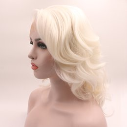 $enCountryForm.capitalKeyWord Australia - Fantasy Beauty Short White Platinum Blonde Heat Resistant Hair Ombre Blonde Synthetic Lace Front Wig For Women Side Part