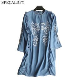 32a762bf4bd 2018 Spring Summer Tencil Denim Dresses Women Ethnic Floral Embroidery Jeans  Dress Vestido Plus Size Women Clothing Robe Femme