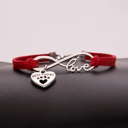 $enCountryForm.capitalKeyWord NZ - Fashion Red Leather Rope Cuff Bracelets Bangles with Trendy high quality Infinity Love Pets Dog Paw Best Friend Charm Jewelry For Women Men