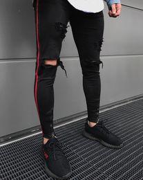 3689ee63a24 Pantalones vaqueros rasgados rojos online-2018 nuevos hombres llegados lado  rojo raya Biker Jeans Denim